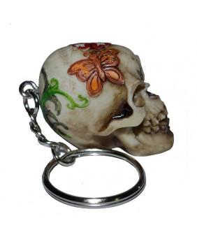 Porte clefs tête de mort romantique