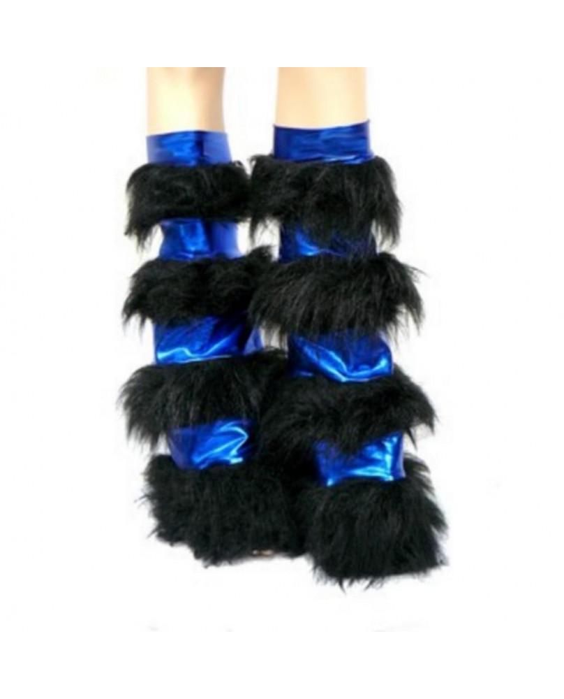 Leg warmers cyber gothique bleu métallique