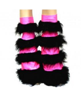 Leg warmers cyber gothique rose rayé noir