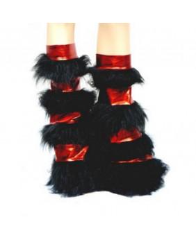 Leg warmers cyber gothique rouge métallique