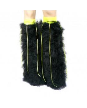 Leg warmers cyber noir / ruban jaune