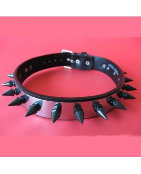 Collier métal pics noirs