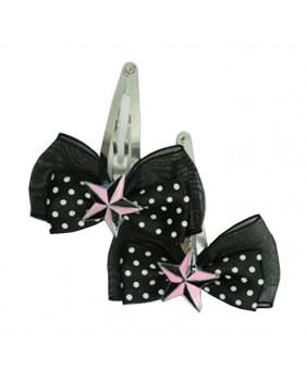 Barrette Black Pink Star