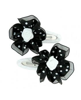 Barrette fleur blanche et noire à pois