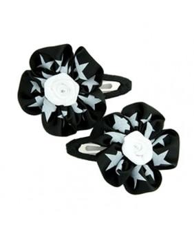 Barrette fleur noire et blanche.