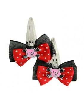 Barrette noeud avec chat rose et noir