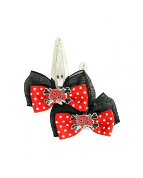 Barrette noeud avec chat rouge et noir