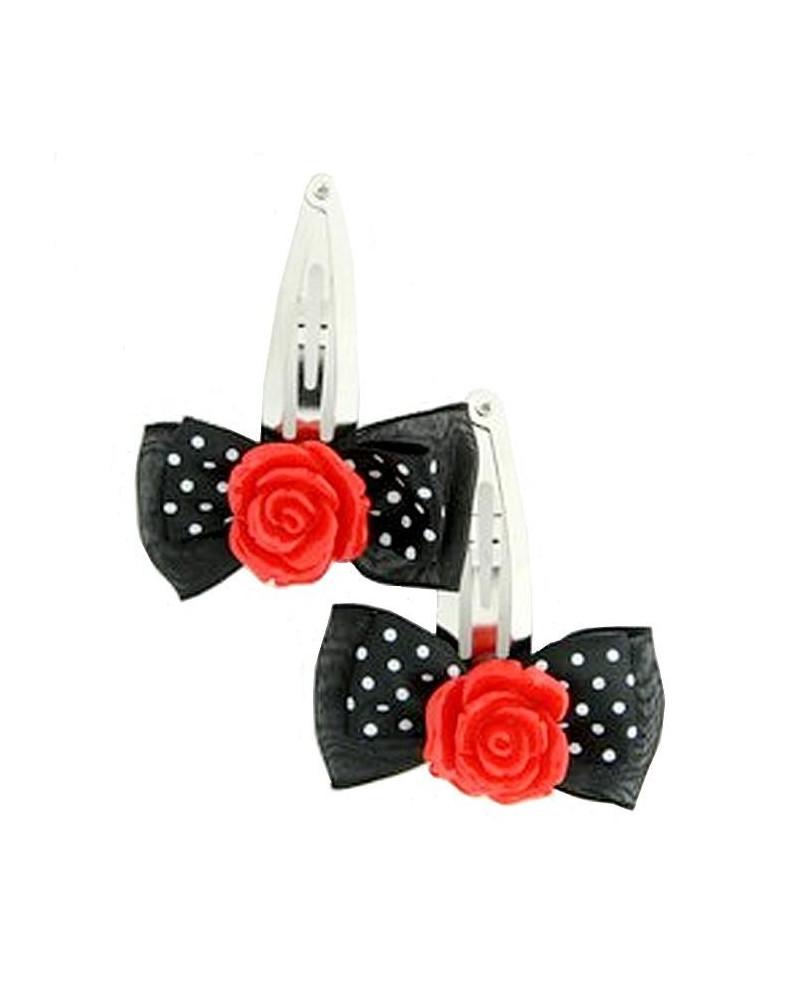 Barrette noire fleur rouge