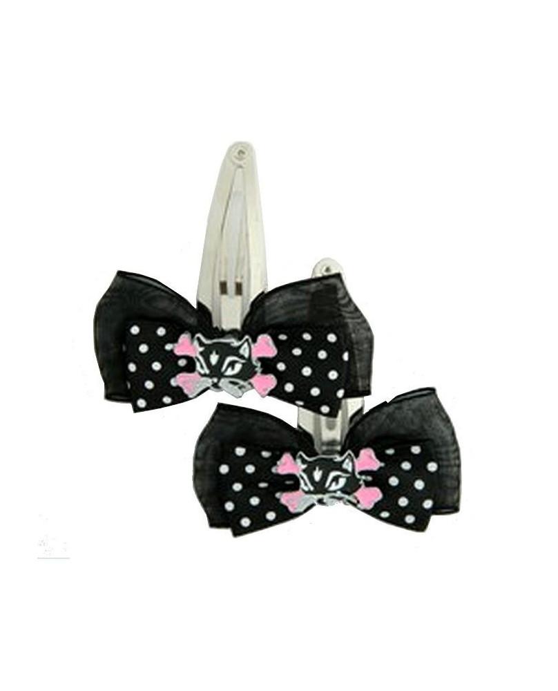 Barrettes gothiques cat bone black-pink