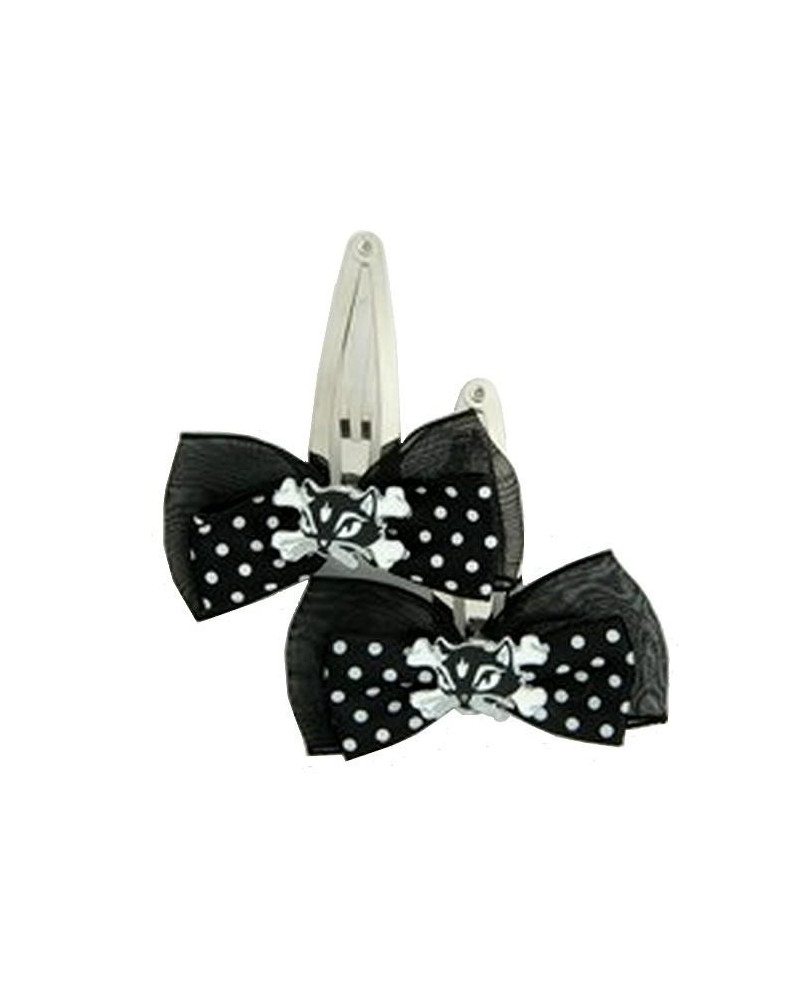 Barrettes gothiques cat bone black-white