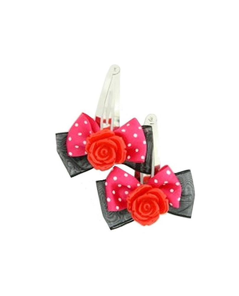 Barrettes romantiques roses rouges