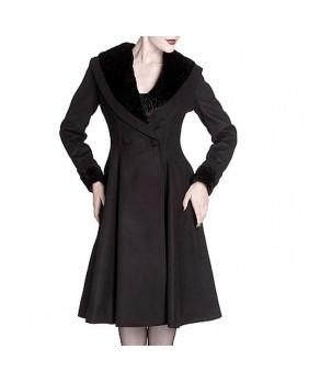 Manteau mi long noir Vivien