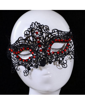 Masque gothique strass rouges