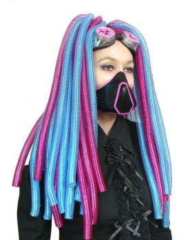 Rajout cyberlox rose / bleu métal