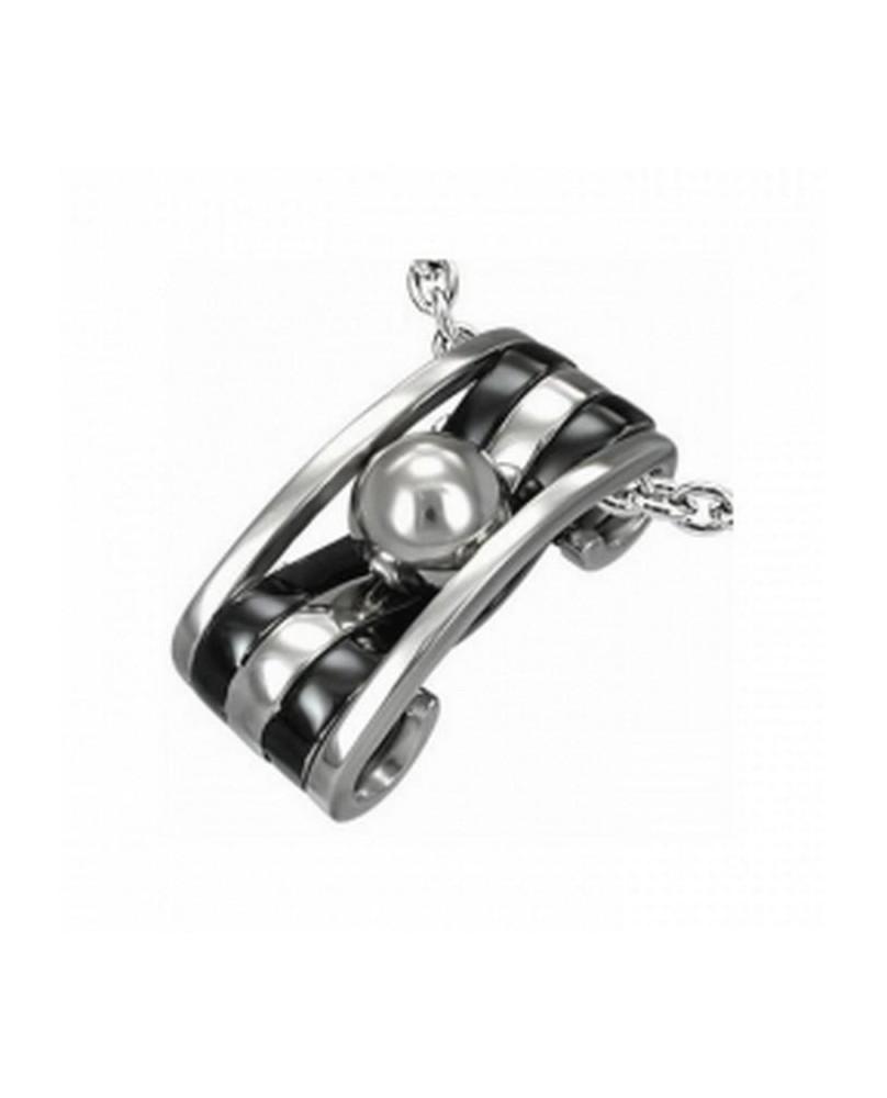 Pendentif acier et perle inox