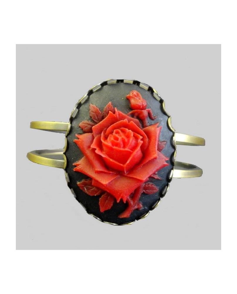 Bracelet camé rose rouge