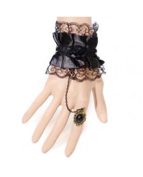 Bracelet satin et dentelle noire