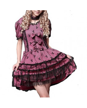 Robe gothique rose Dark Ribbon