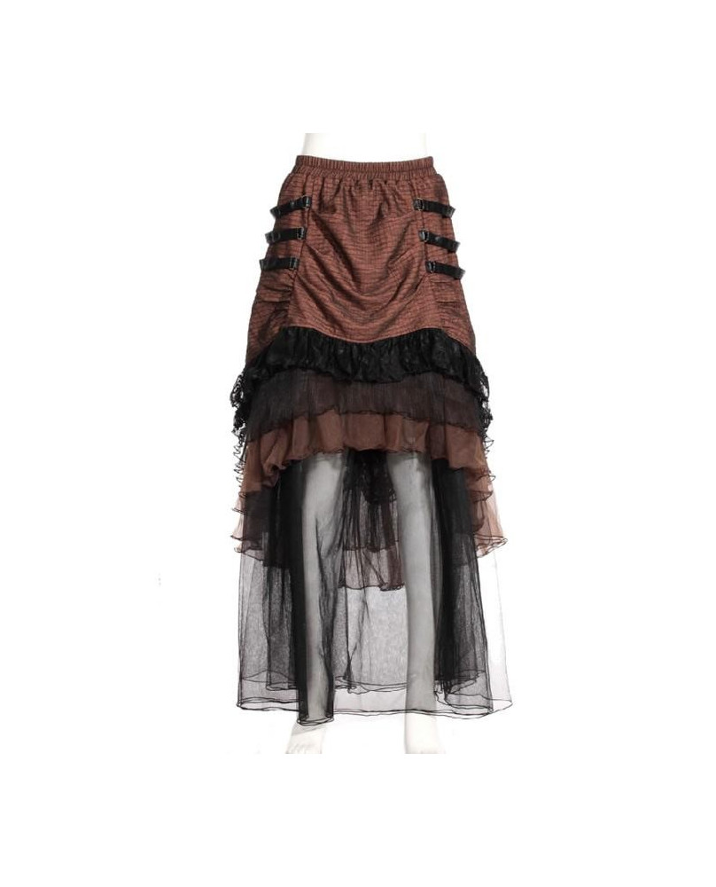 Jupe longue steampunk marron