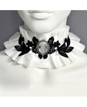 Tour de cou gothique blanc noir