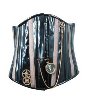 Serre taille steampunk noir et bronze