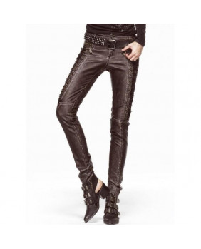 Pantalon steampunk simili marron