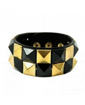"Bracelet punk rock "" check black-gold """