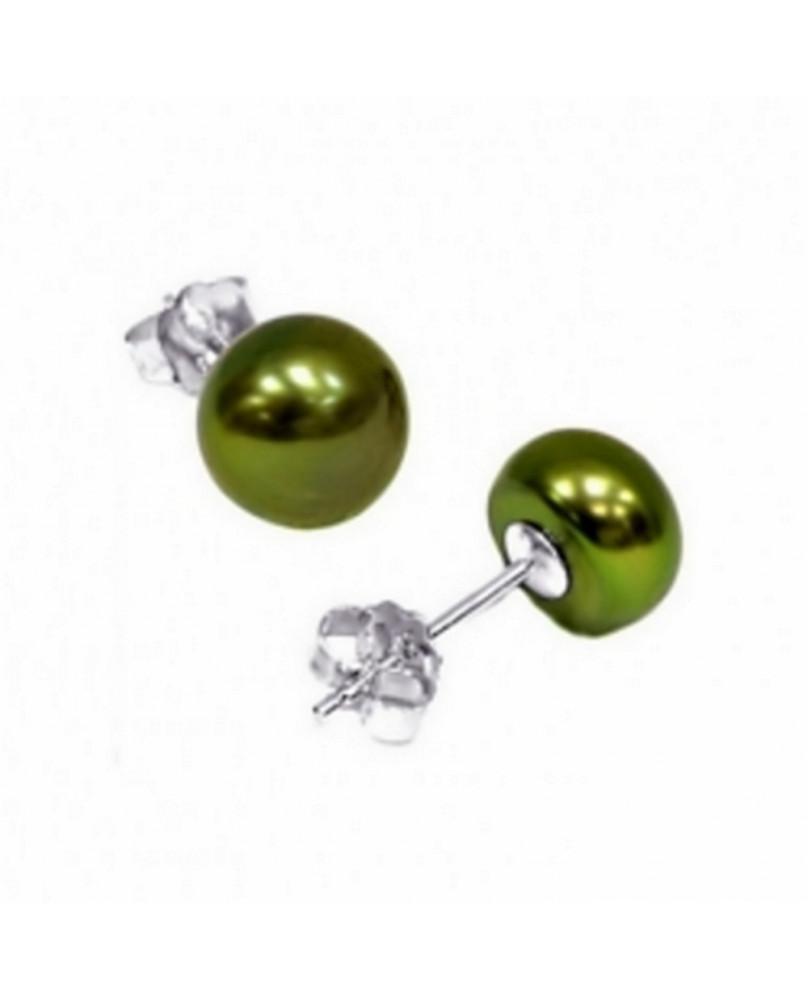 Boucles d'oreilles perle verte