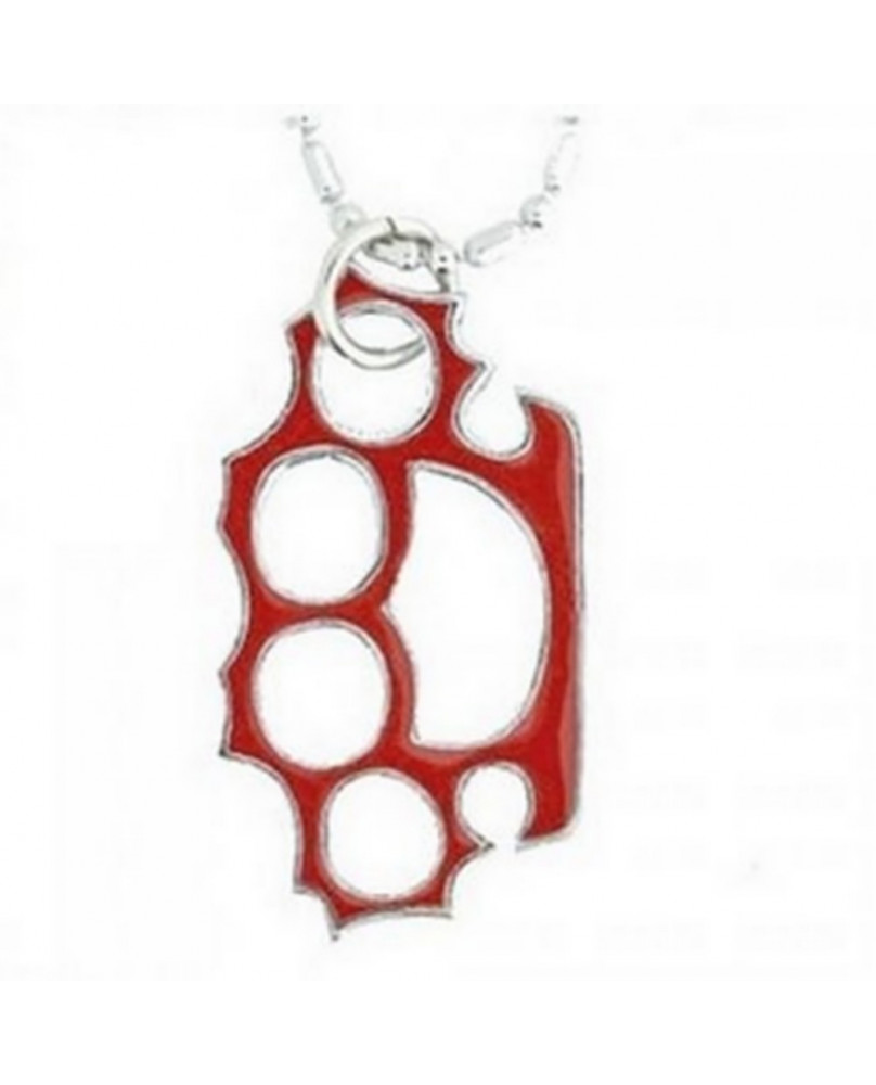 Pendentif poing americain rouge