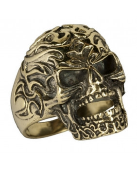 Bague tribal skull bronze