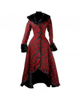 Manteau long gothique en brocart rouge