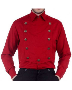 Chemise steampunk rouge