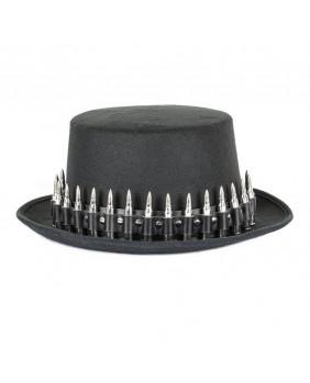Chapeau noir à balle chromées