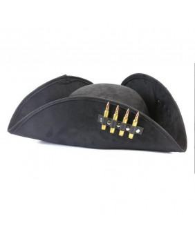 Tricorne noir de pirate avec balles