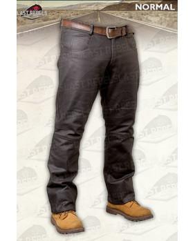 Pantalon marron homme en cuir buffle skipper
