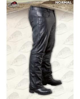 Pantalon noir homme en cuir vachette