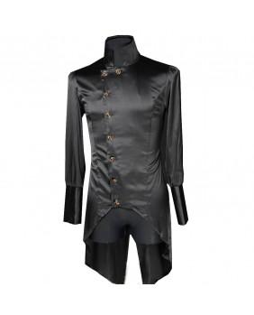 Chemise gothique noire avec pan Regal