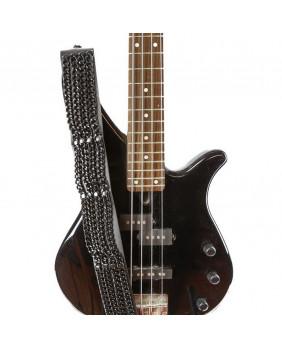 Sangle de guitare en cuir noir et chaines noires