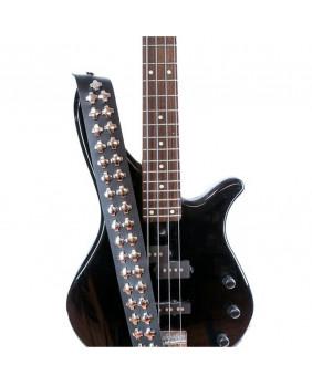 Sangle de guitare cuir avec studs croix argents