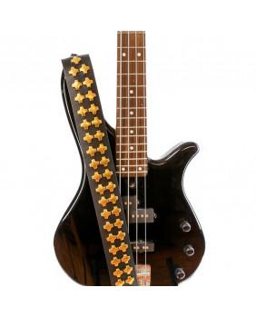 Sangle de guitare cuir avec studs croix dorés