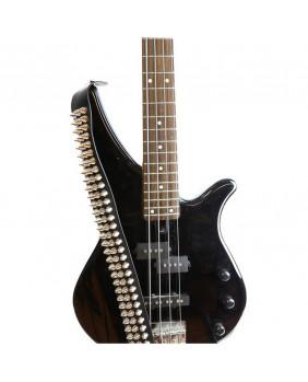 Sangle guitare noire multi pics argents