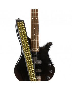 Sangle de guitare cuir et studs coniques dorés
