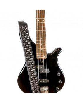 Sangle de guitare cuir et studs carrés noirs