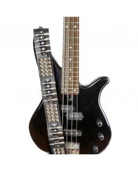 Sangle de guitare cuir avec studs et balles en nickel