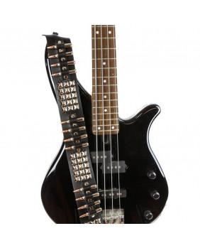 Sangle de guitare cuir avec studs et balles en nickel/cuivre