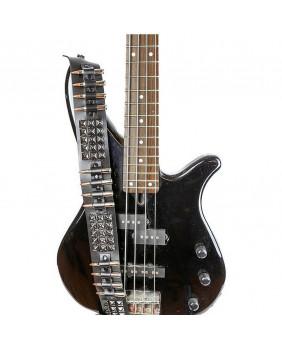Sangle de guitare rock cuir studs noirs/balles nickel et cuivre