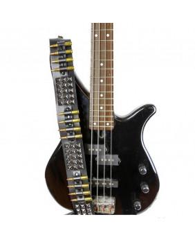 Sangle de guitare rock cuir studs noirs/balles bronze et cuivre