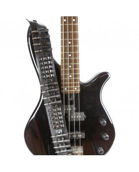 Sangle de guitare rock cuir studs noirs/balles noires