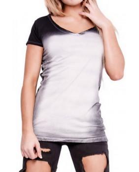 T-Shirt vintage femme col en V noir et blanc
