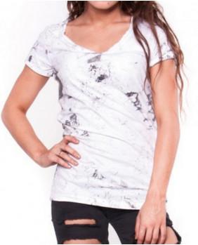 T-Shirt rock coton blanc et gris